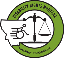 Disability Rights Montana logo: outline of state of Montana, scales of justice, and a stick figure in a wheelchair